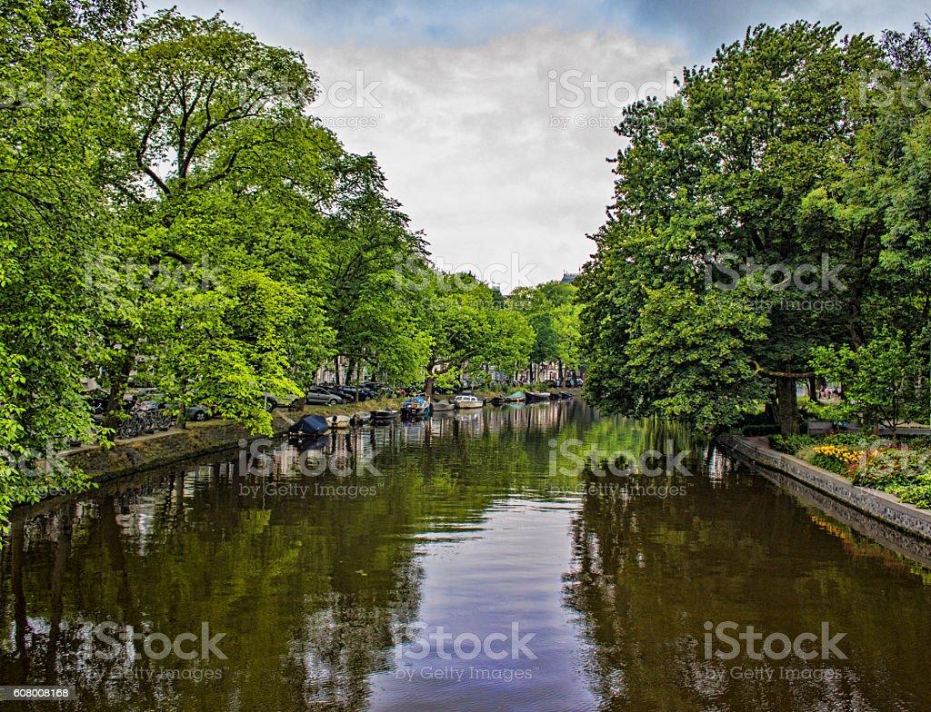 Amstel River in Amsterdam, Netherlands in summertime stock photo