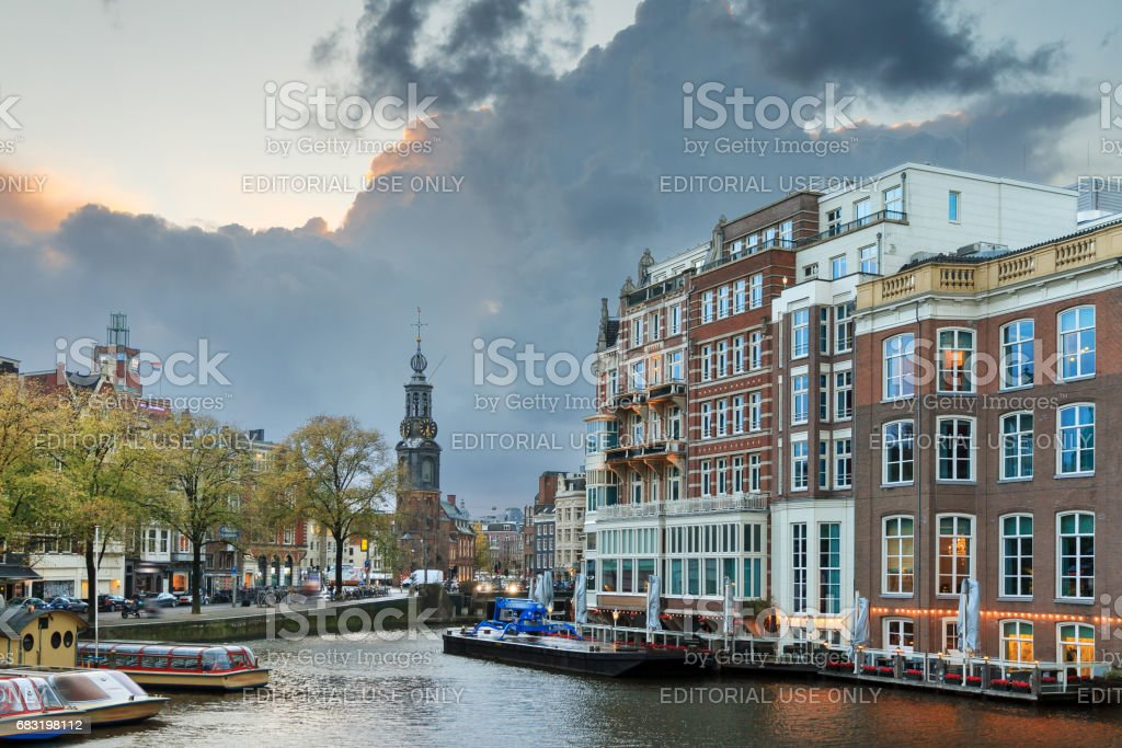 Amstel river Mint tower stock photo