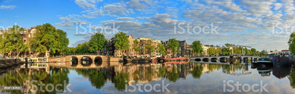 Amstel river panorama stock photo