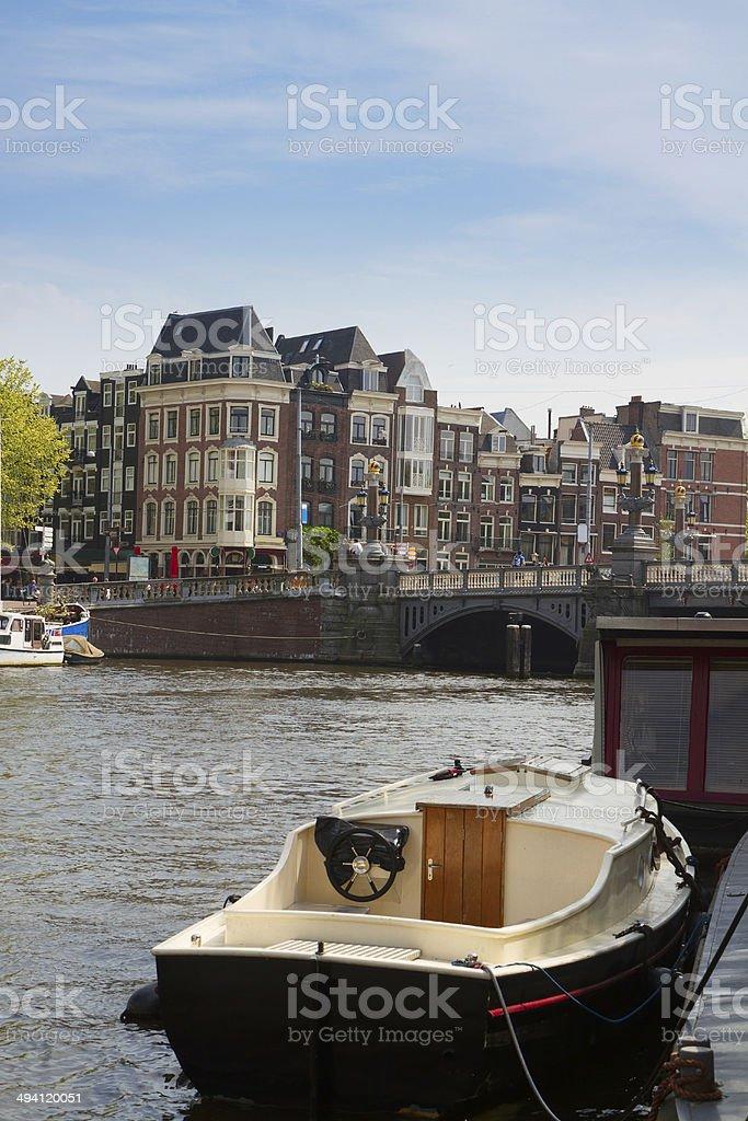 Amstel riverbank, Amsterdam, Netherlands royalty-free stock photo