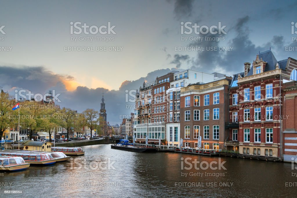 Amstel view Amsterdam stock photo