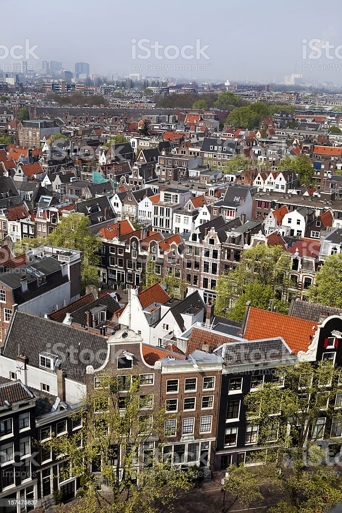 Amsterdam Aerial View in Holland royalty-free stock photo