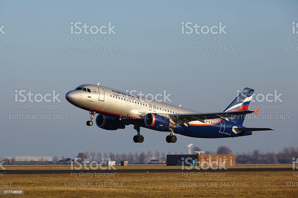Amsterdam Airport Schiphol - Aeroflot Airbus A320 takes off stock photo
