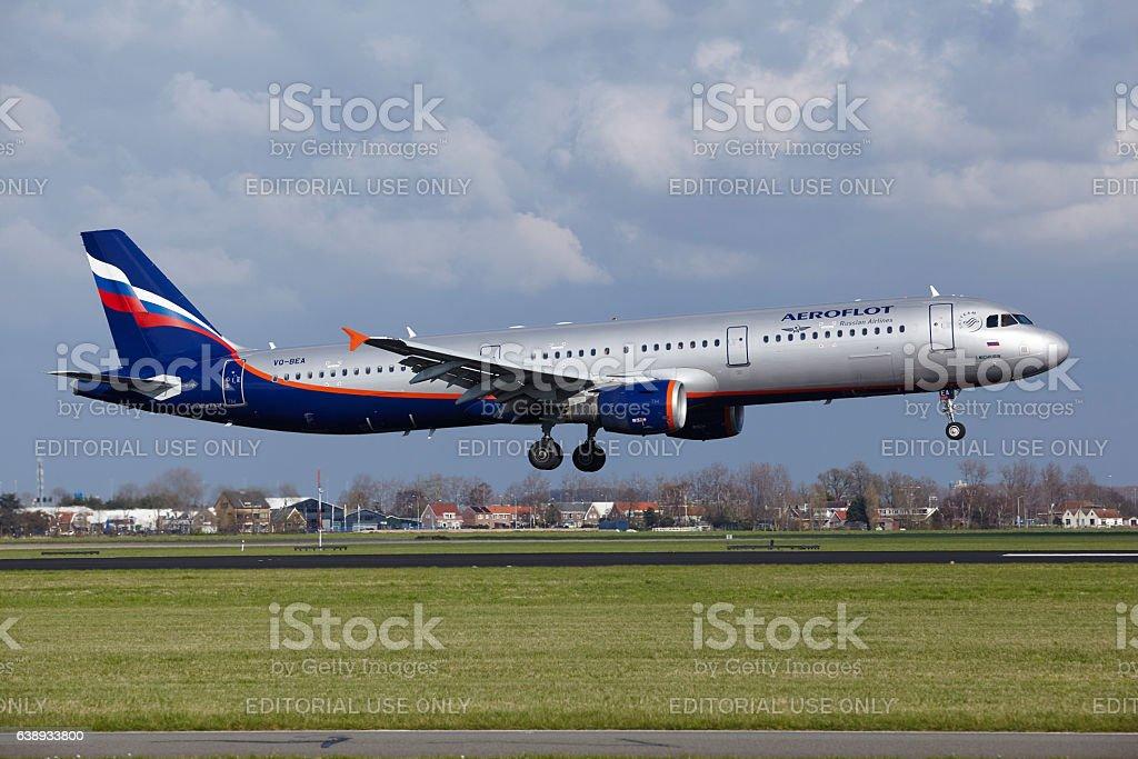 Amsterdam Airport Schiphol - Aeroflot Airbus A321 lands stock photo