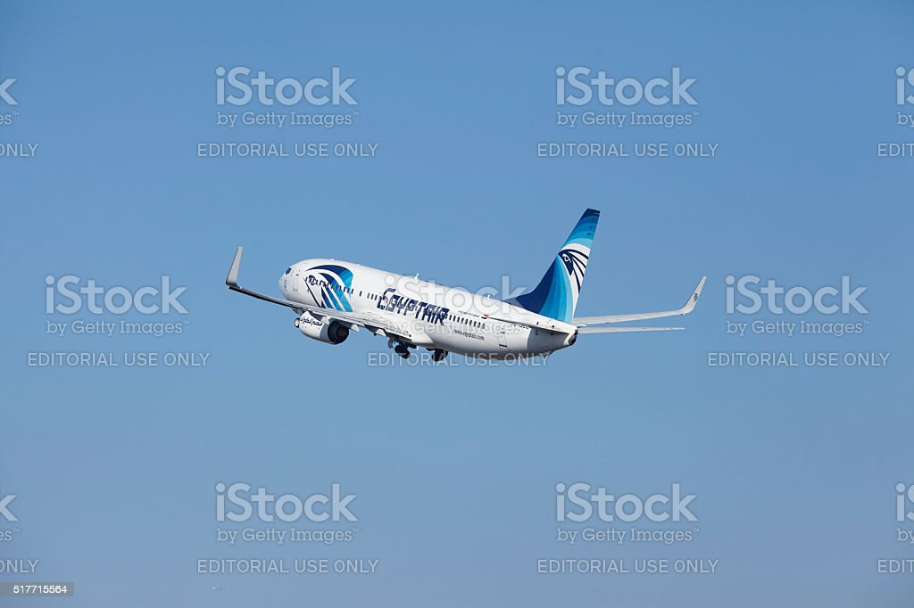 Amsterdam Airport Schiphol - Egyptair Boeing 737 takes off stock photo