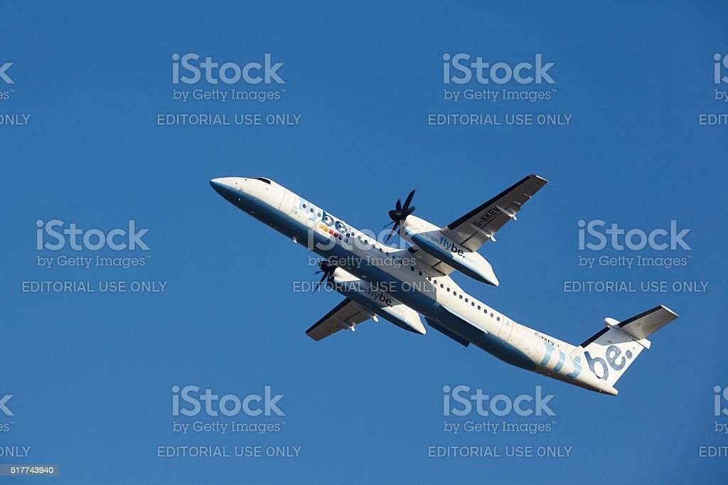 Amsterdam Airport Schiphol - Flybe Bombardier Dash takes off stock photo
