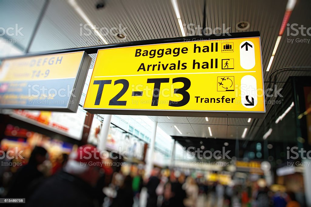 Amsterdam Airport Schiphol information sign, Netherlands stock photo