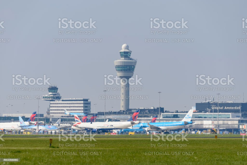 Amsterdam Airport Schiphol (AMS) international hub in The Netherlands stock photo