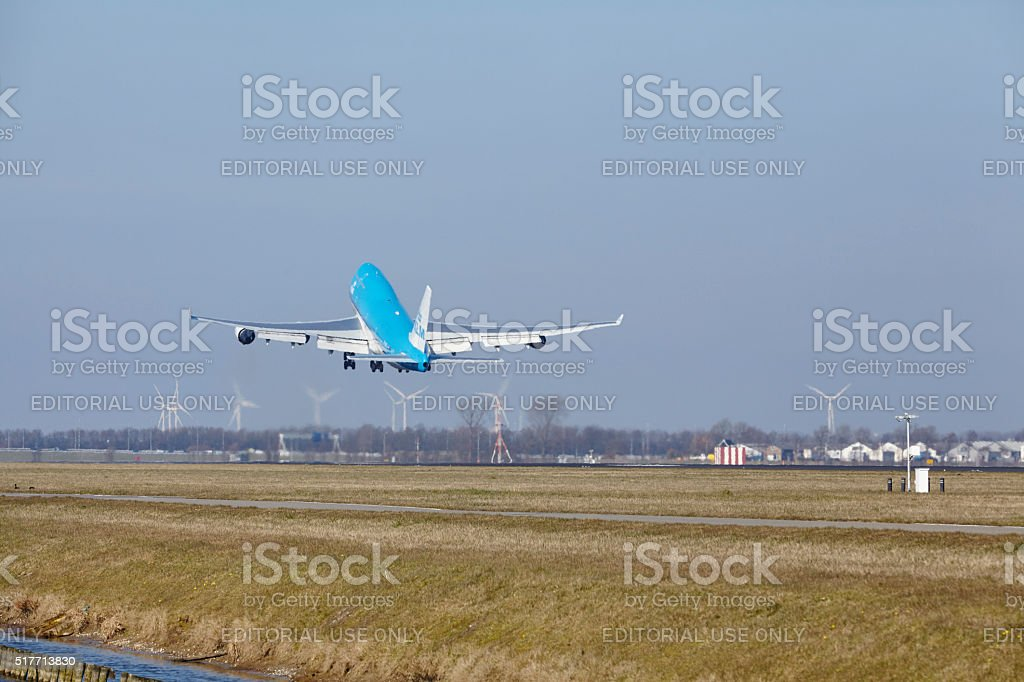 Amsterdam Airport Schiphol - KLM Boeing 747 takes off stock photo