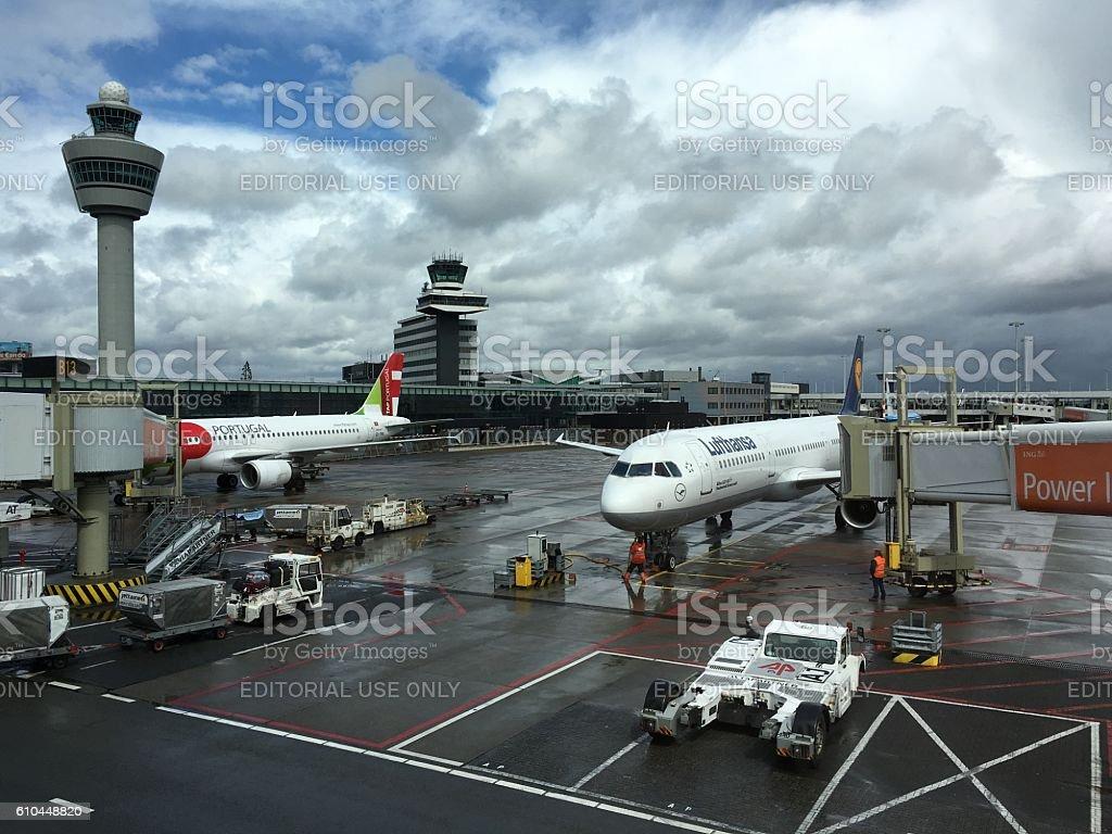 Amsterdam airport Schiphol, Netherlands stock photo