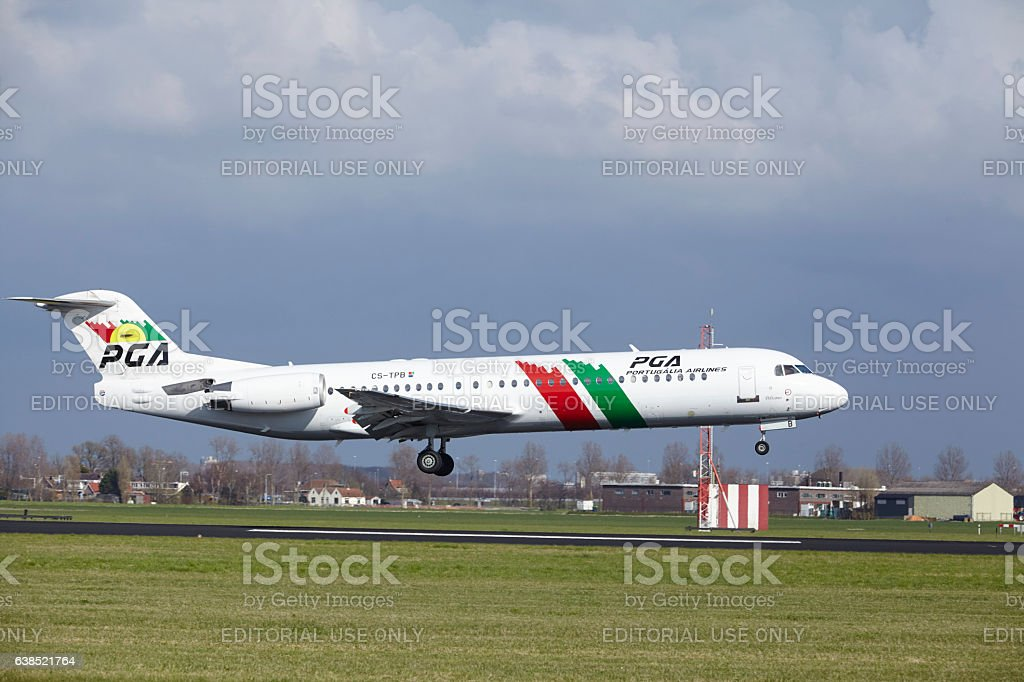 Amsterdam Airport Schiphol - TAP Express Fokker 100 lands stock photo