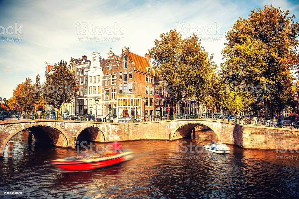 Amsterdam at autumn stock photo