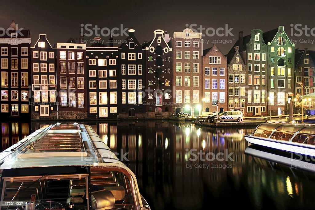 Amsterdam at night royalty-free stock photo