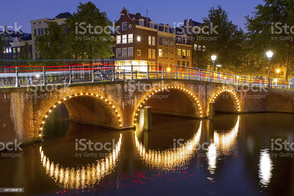 Amsterdam at sunset stock photo