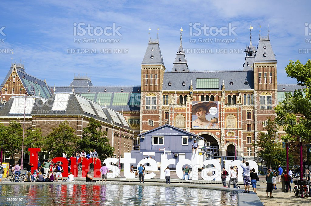I amsterdam behind Rijksmuseum in Netherlands stock photo