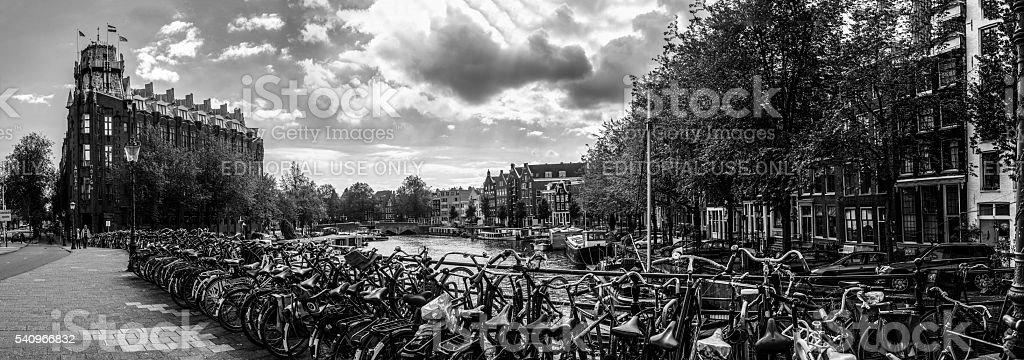 Amsterdam Bicycles Black and White Panorama stock photo