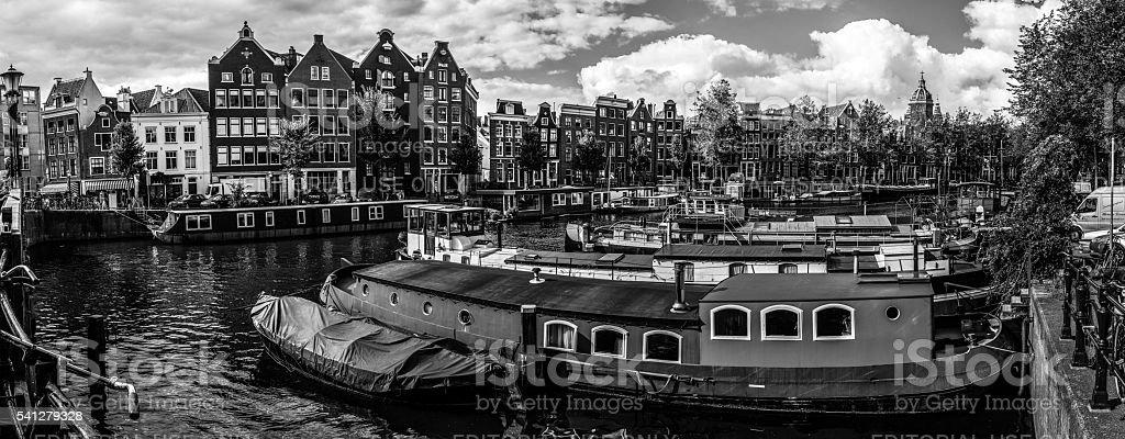 Amsterdam Black and White Panorama stock photo