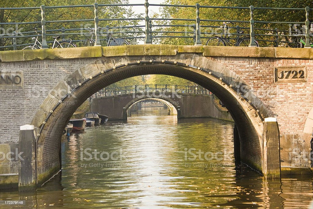 Amsterdam: Bridges over a Canal royalty-free stock photo