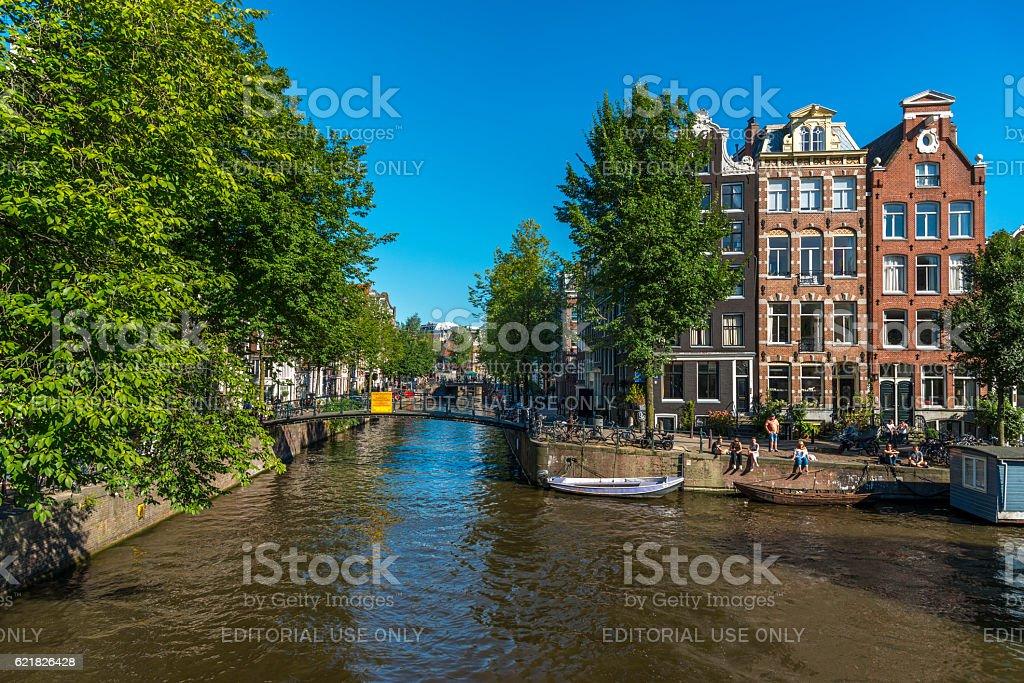 Amsterdam, Brouwersgracht in summertime stock photo