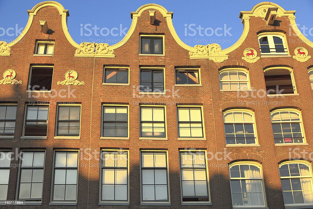 Amsterdam building facade at sunset, Netherlands, Benelux stock photo