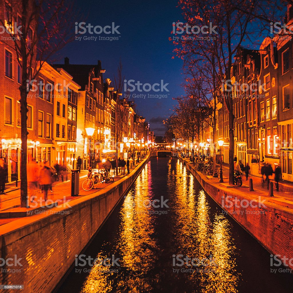 Amsterdam by night. stock photo