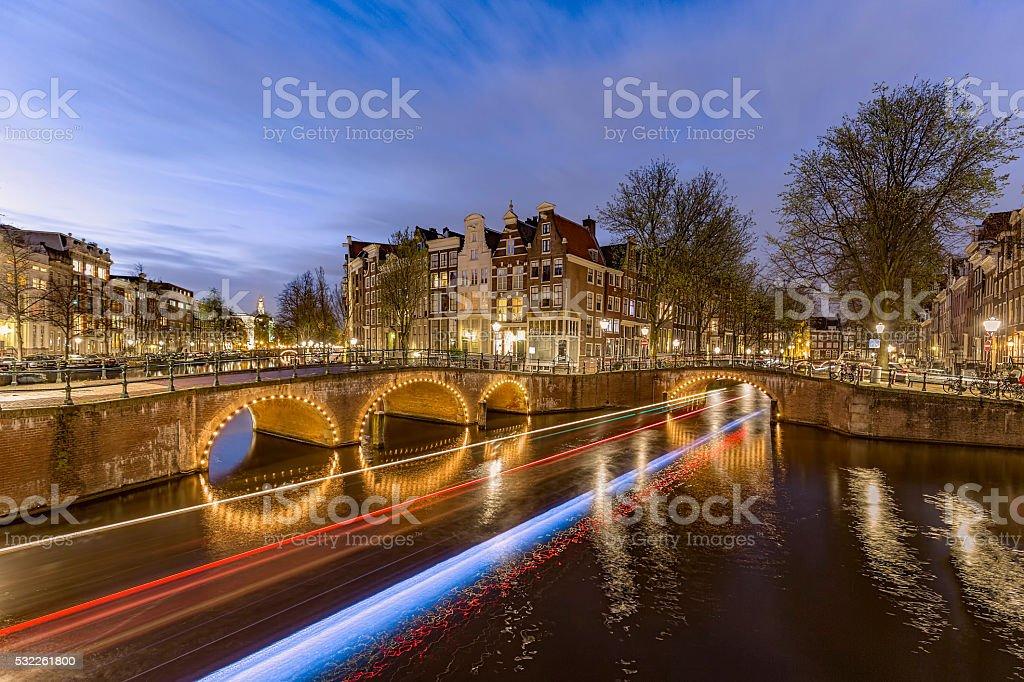 Amsterdam by night stock photo