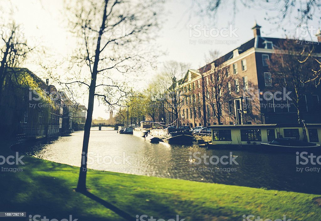 Amsterdam, Canal and Boats royalty-free stock photo