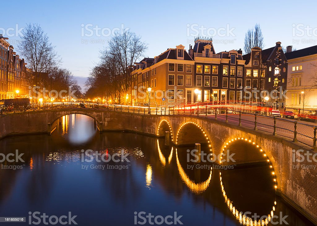 Amsterdam Canal and Bridges stock photo