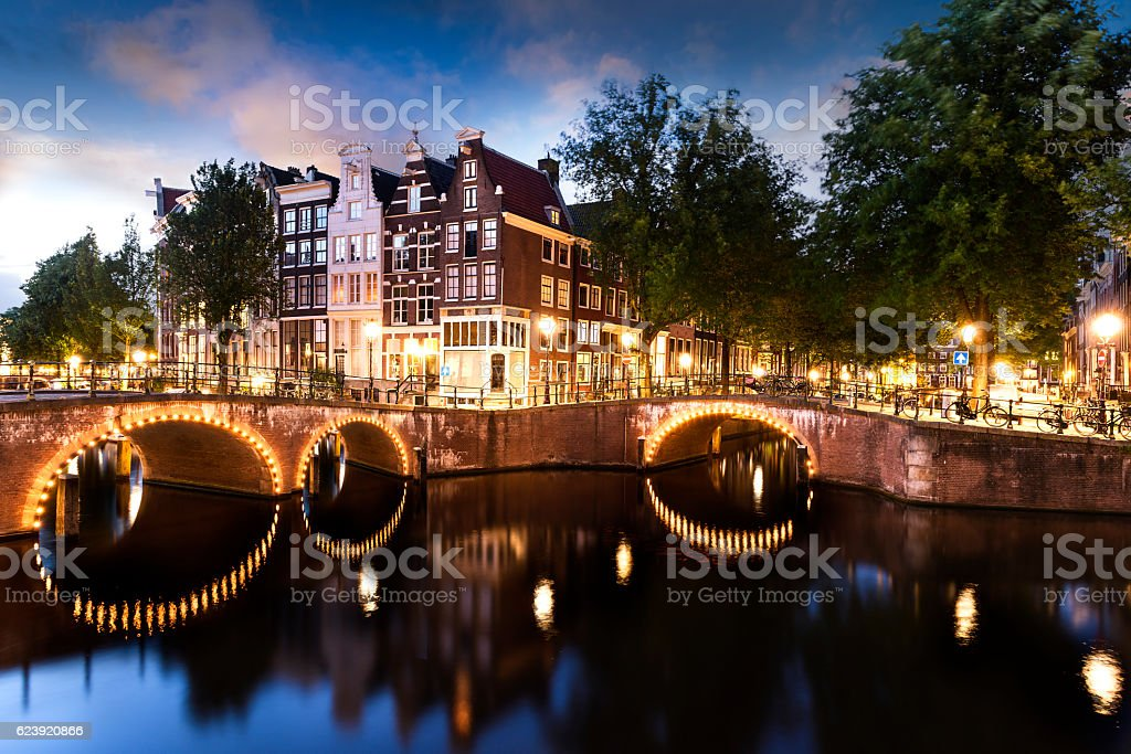 Amsterdam Canal and Light stock photo