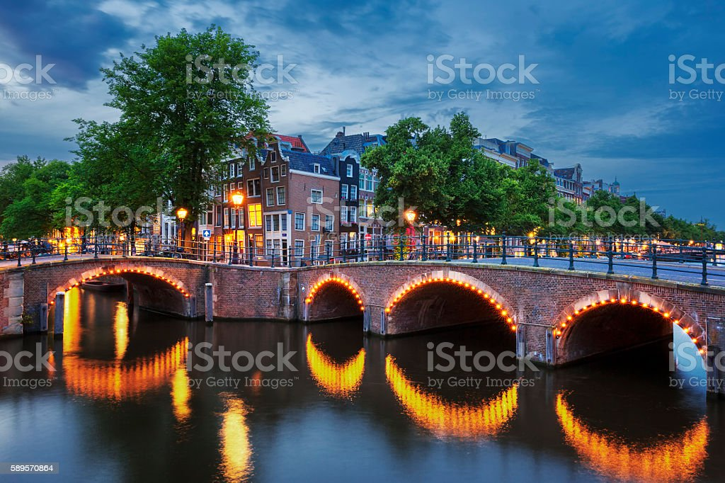 Amsterdam Canal at dusk stock photo