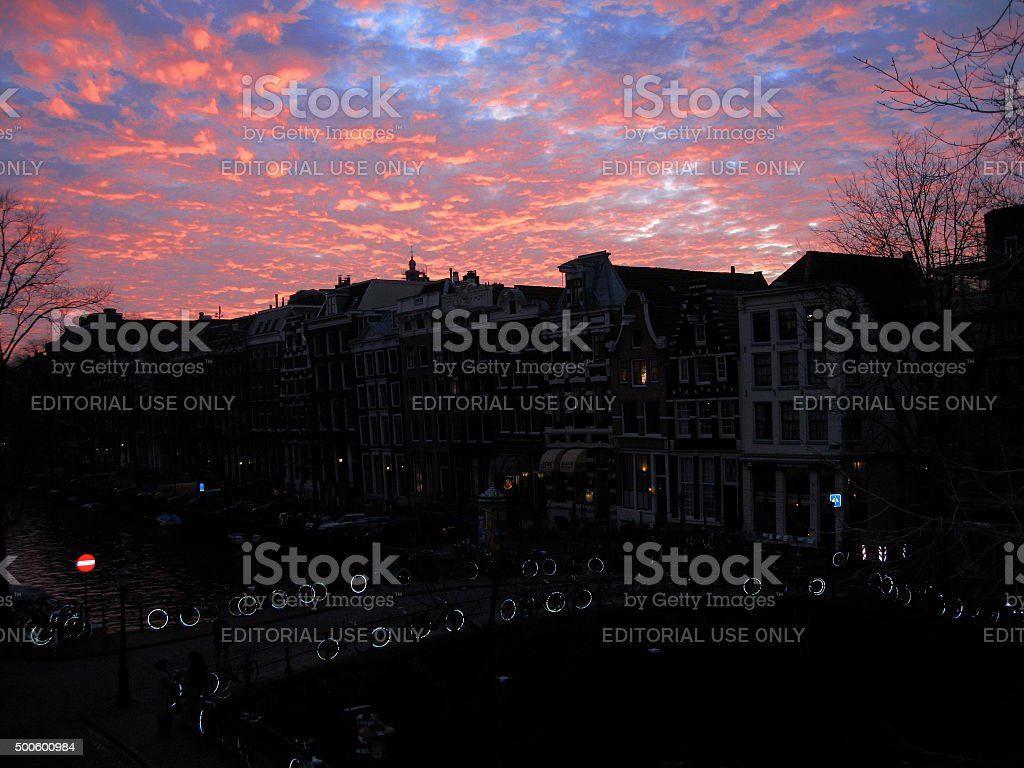 Amsterdam - Canal at night stock photo