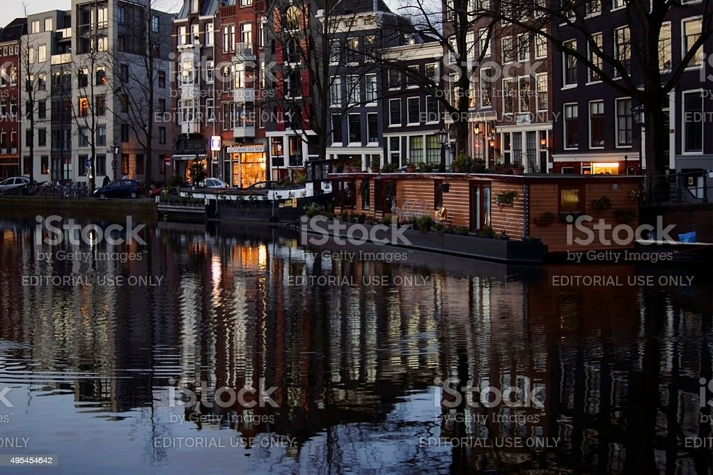 Amsterdam canal early morning stock photo