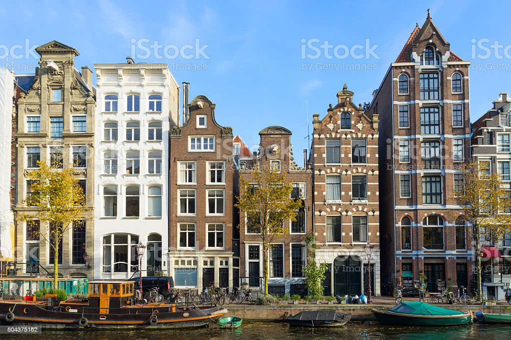 Amsterdam canal houses, Netherlands stock photo