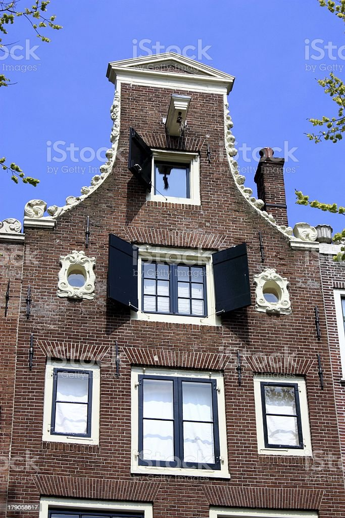 Amsterdam canal houses royalty-free stock photo