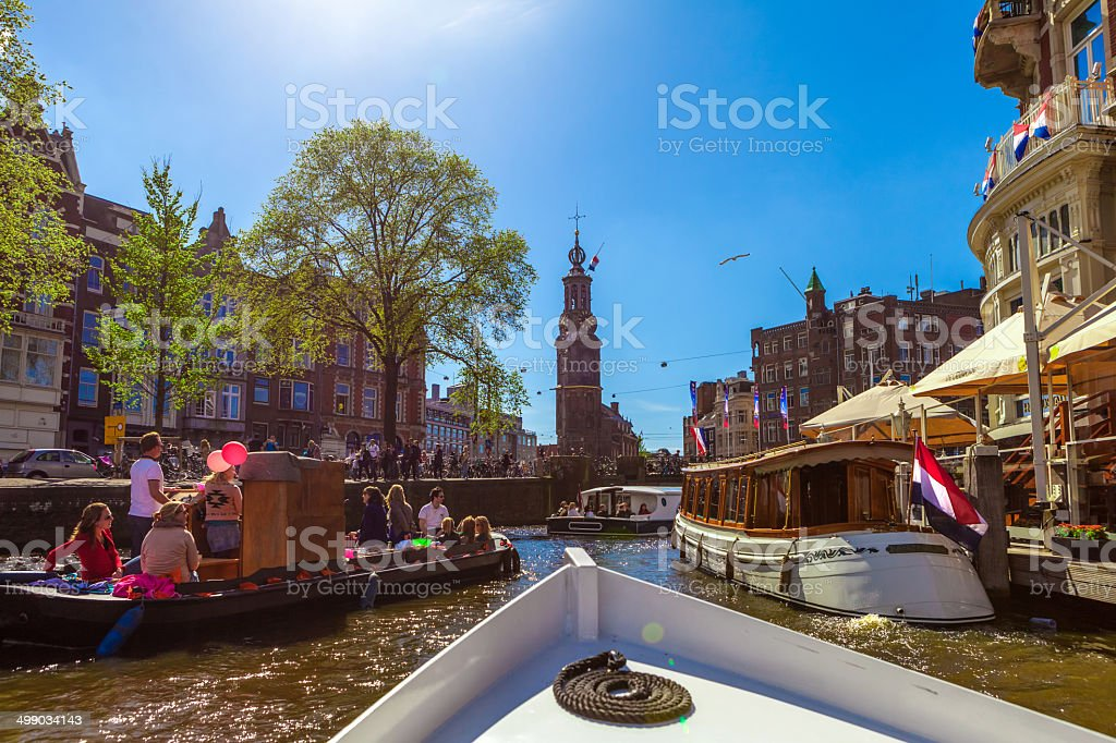 Amsterdam canal, in Centrum stock photo