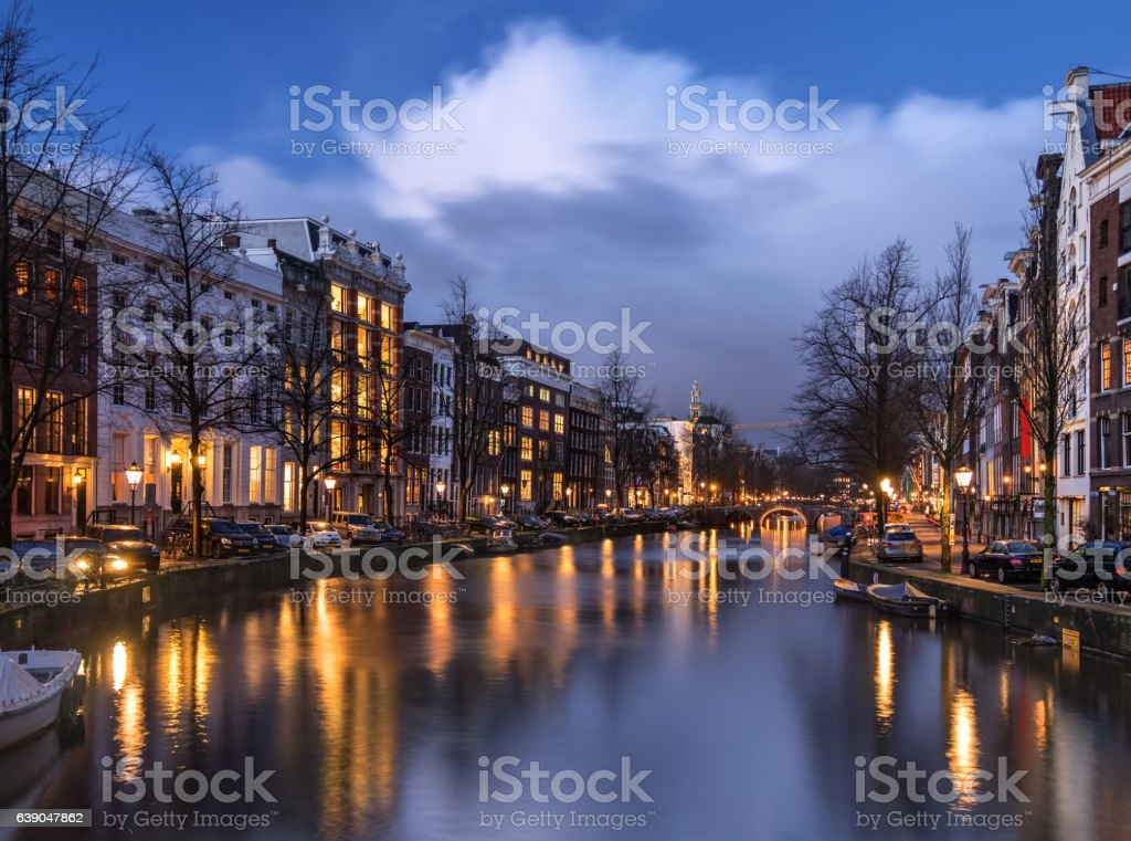 Amsterdam canal Keizersgracht in the evening stock photo