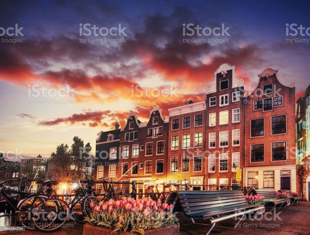 Amsterdam canal on the west. Capital and most densely populated stock photo