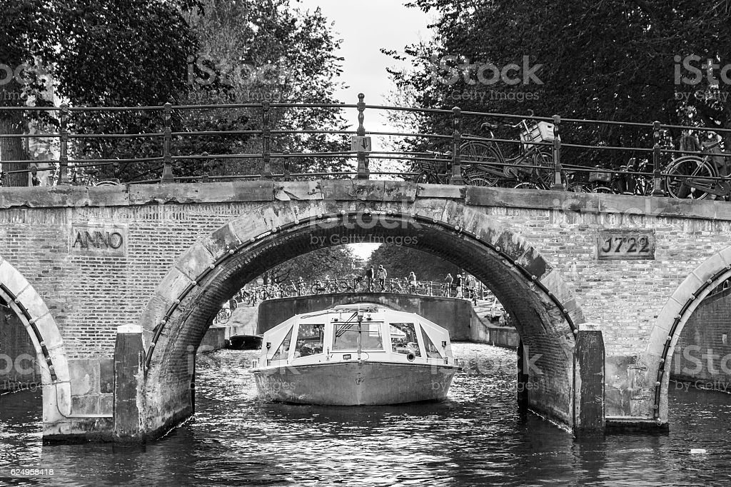 Amsterdam canal tour BW stock photo