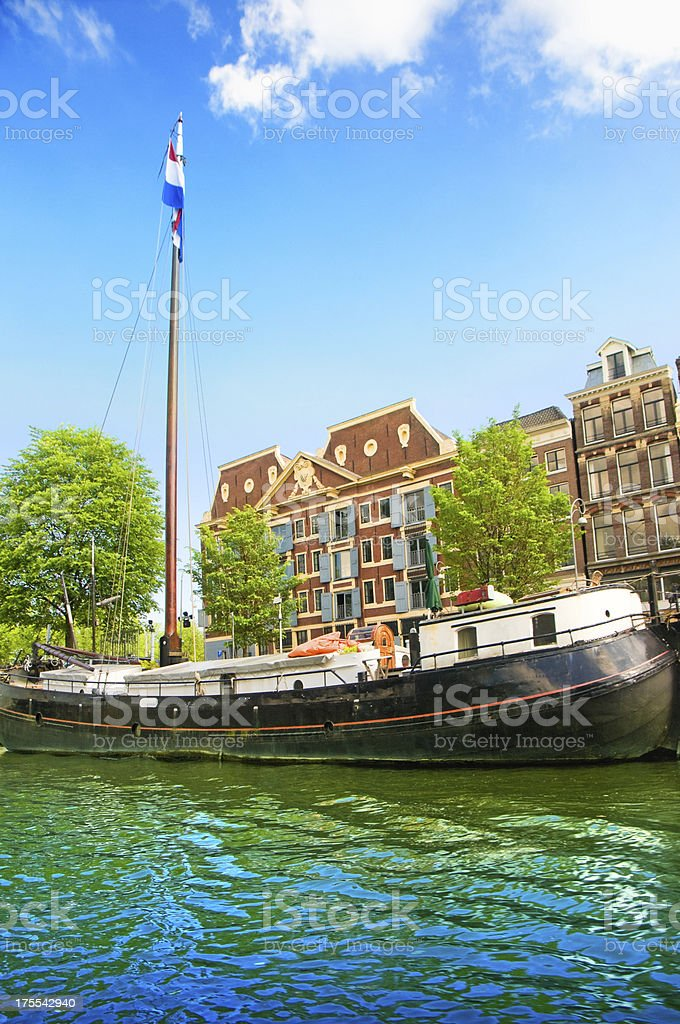 Amsterdam Canal with his Historical Boats royalty-free stock photo