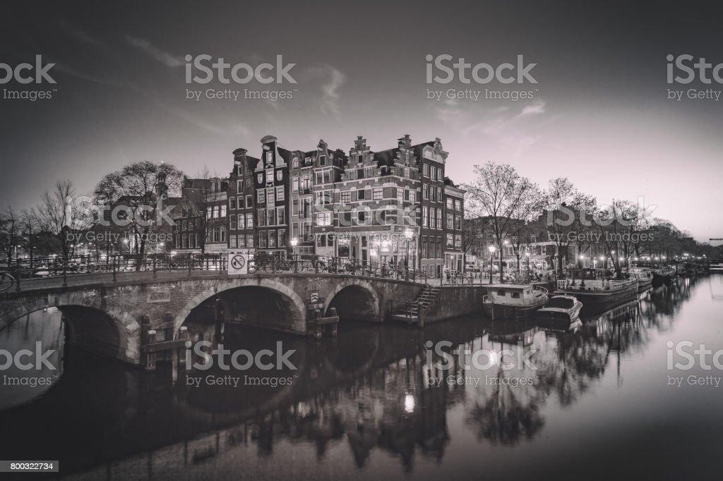 Amsterdam Canals - Monochrome stock photo