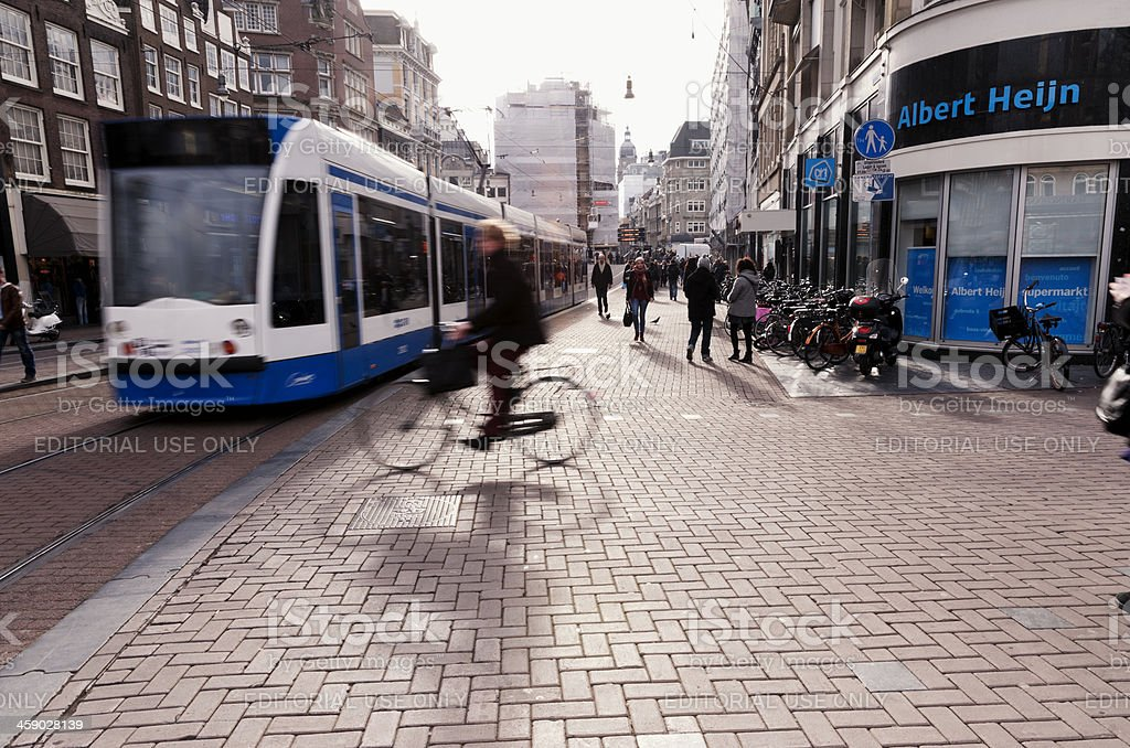 Amsterdam center with traffic royalty-free stock photo
