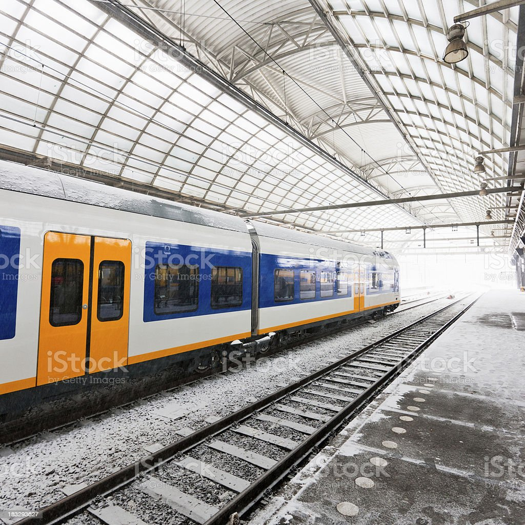 Amsterdam Centraal Train Station Platform stock photo