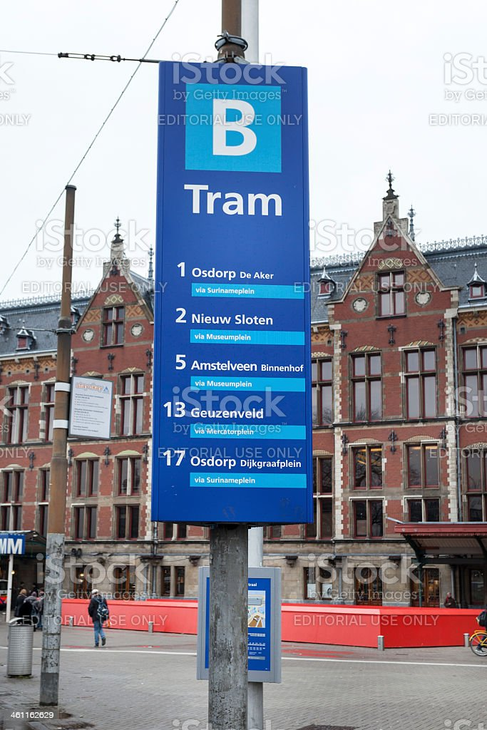 Amsterdam Centraal, tram platform stock photo