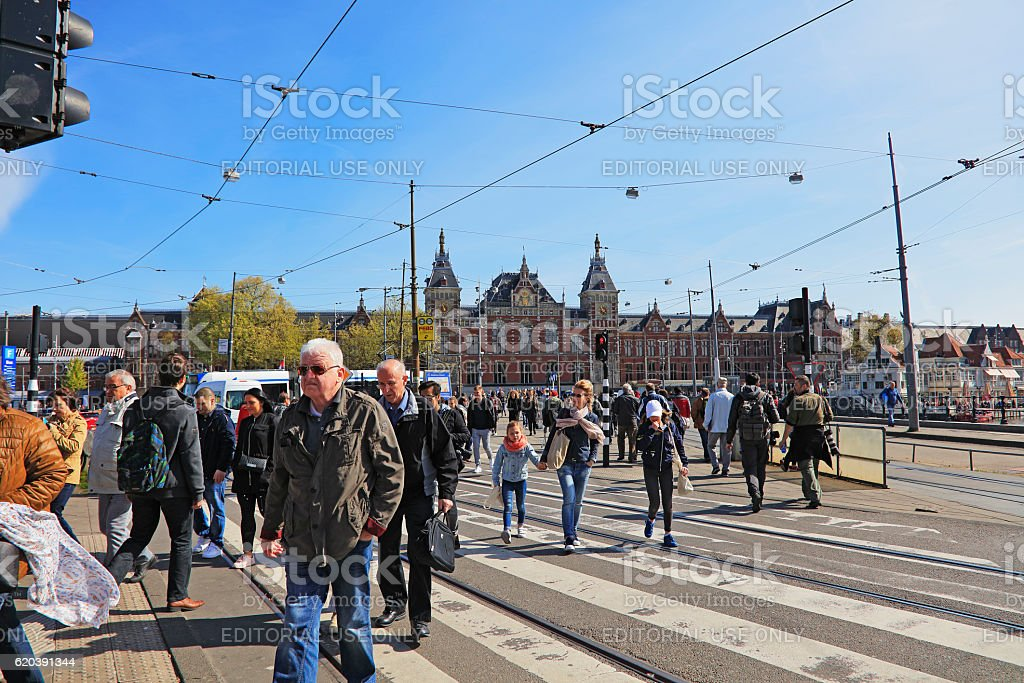 Amsterdam central railway station stock photo