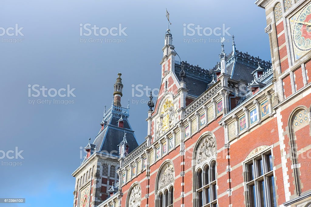 Amsterdam central station architectural detail stock photo