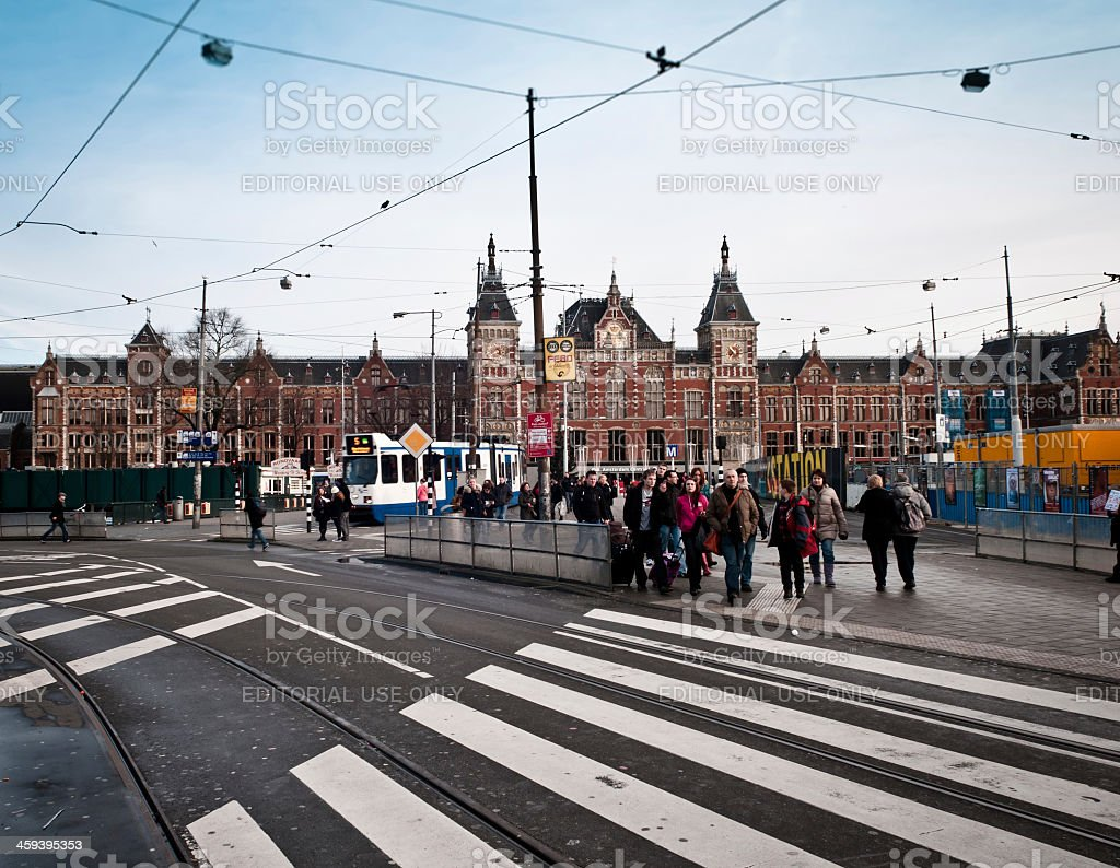 Amsterdam central train station royalty-free stock photo