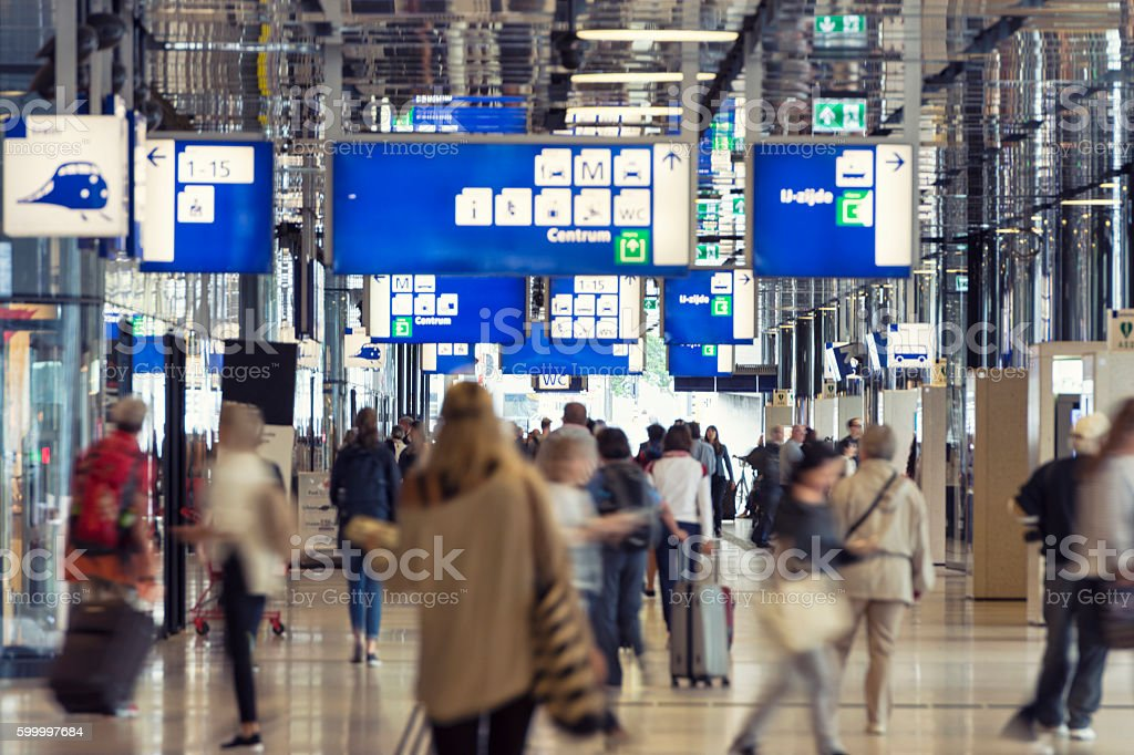 Amsterdam central train station stock photo