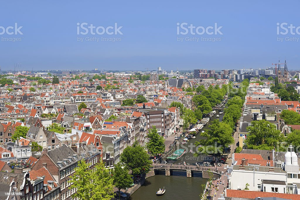 Amsterdam channel in a summer day royalty-free stock photo