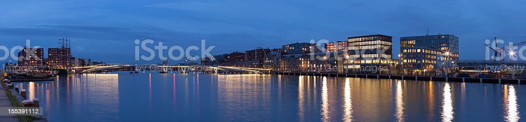 Amsterdam city Java-eiland skyline at night, panorama royalty-free stock photo