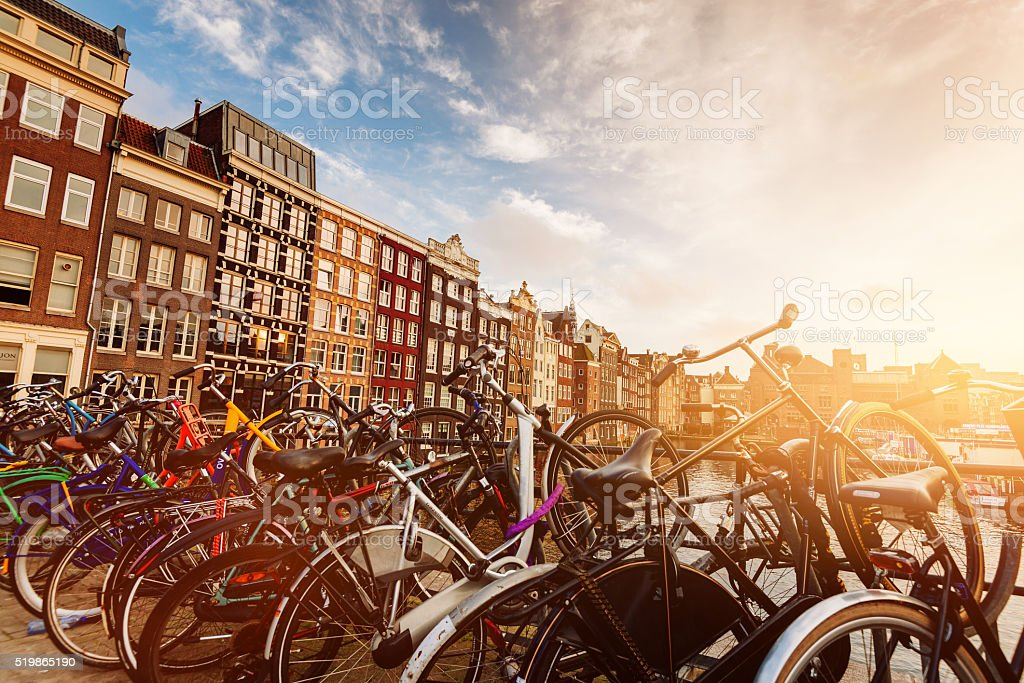 Amsterdam, city of canals, parties and beautiful architecture stock photo